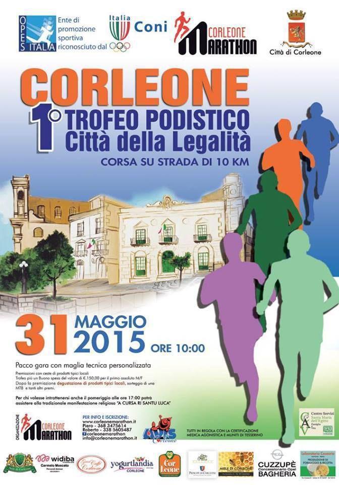 Trofeo Podistico Città di Corleone (1^ ed.). Andrà in scena il prossimo 31 maggio 2015