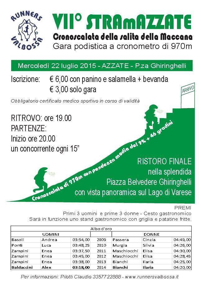 StraMazzate 2015 (7^ ed.). Record di partecipanti alla cronoscalata dei Runners Valbossa