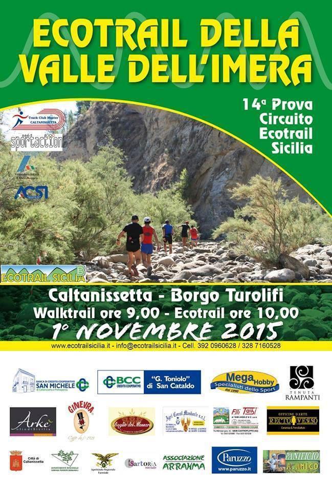 Ecotrail della Valle dell'Imera 2015. Si distingue la compagine dell'ASD No al Doping e alla Droga