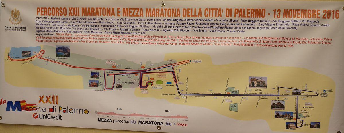 Maratona Città di Palermo 2016 (22^ edizione) - il percorso di gara di Maratona e Mezza