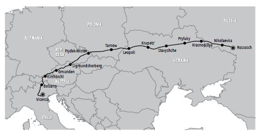 Il percorso di ritorno, con le località dove avranno sede i 12 campi-base