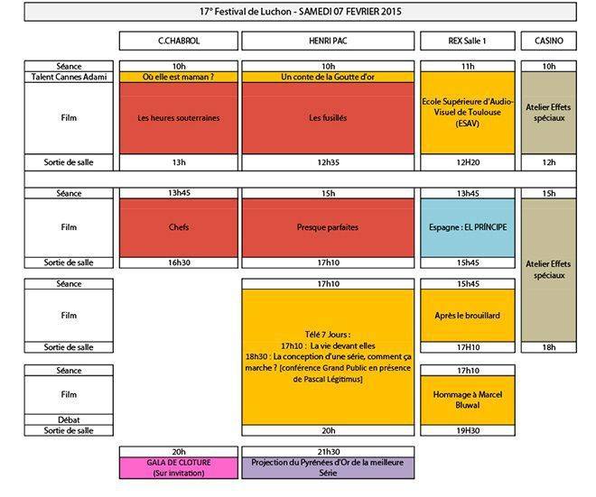 Programme du Samedi