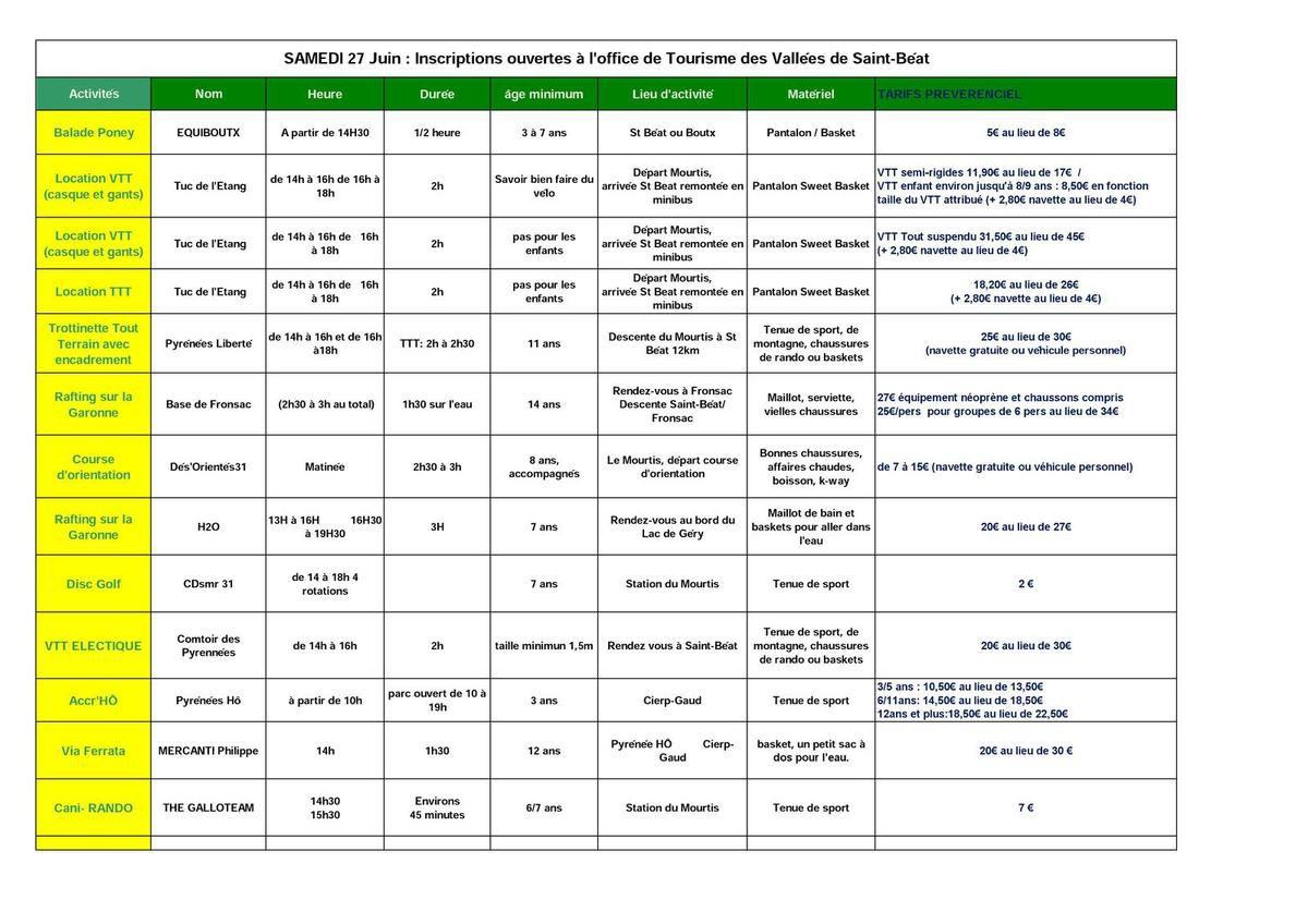 Programme du samedi et du dimanche activités