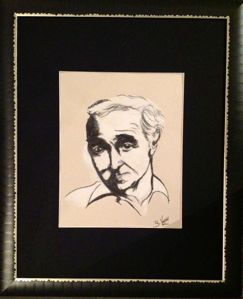 Au stylo feutre noir et pastel blanc sur feuille de papier - encadrement bois noir -Taille : 29 X 23 CM