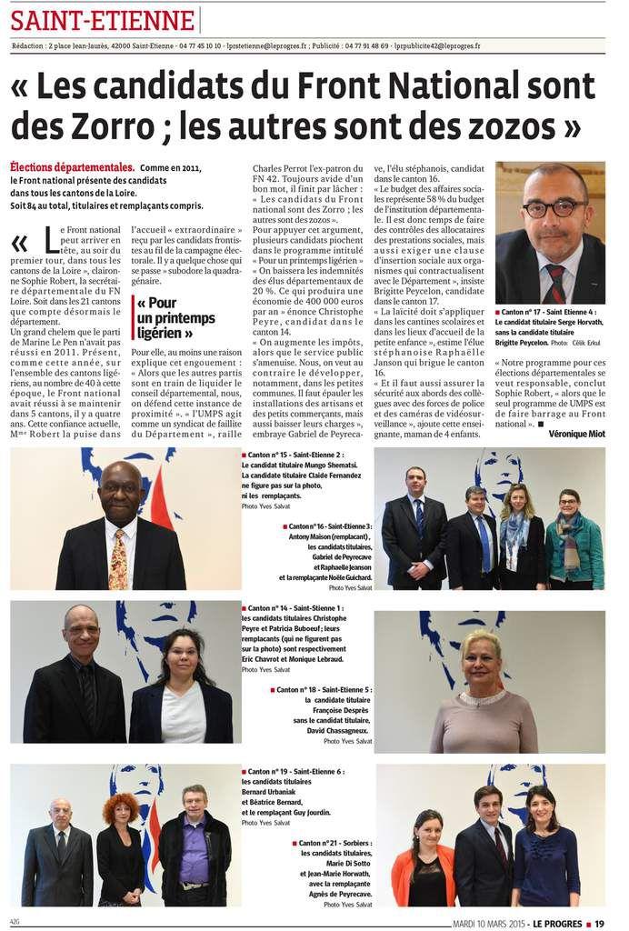 Départementales : 3 arrondissements de la Loire, 3 Conférences de Presse, 3 pleines pages !