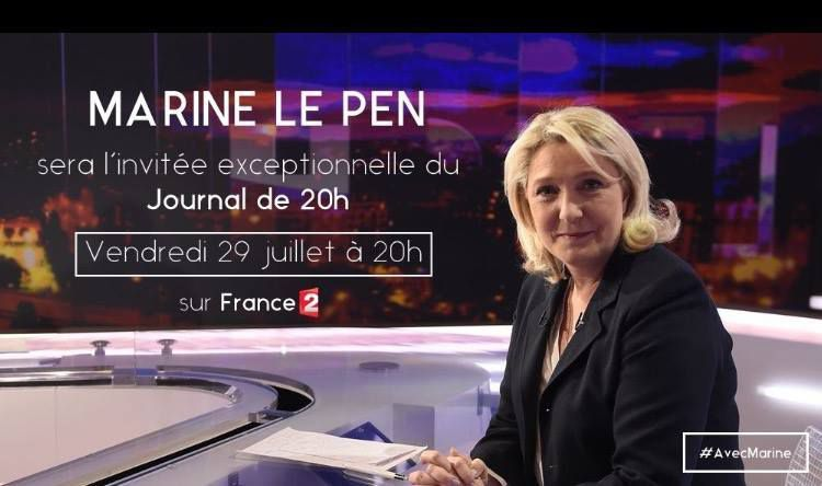Marine Le Pen sera demain, sur le 20h de France 2