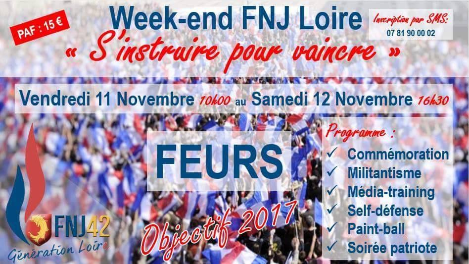FNJ Loire : rejoignez les jeunes patriotes de la Loire pour un we les 11 et 12 novembre à Feurs