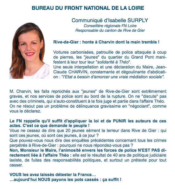 Communiqué d'Isabelle SURPLY : honte à Charvin !