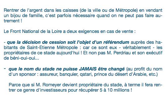 Communiqué de G. de PEYRECAVE : &quot&#x3B; Vente du Chaudron : le FN demande un référendum local ! &quot&#x3B;