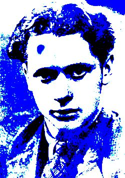 """""""Dylan Thomas in Blue"""" digital artwork by Lidia Chiarelli, Italy (from a photo taken in Battersea in 1936, courtesy of Jeff Town)"""