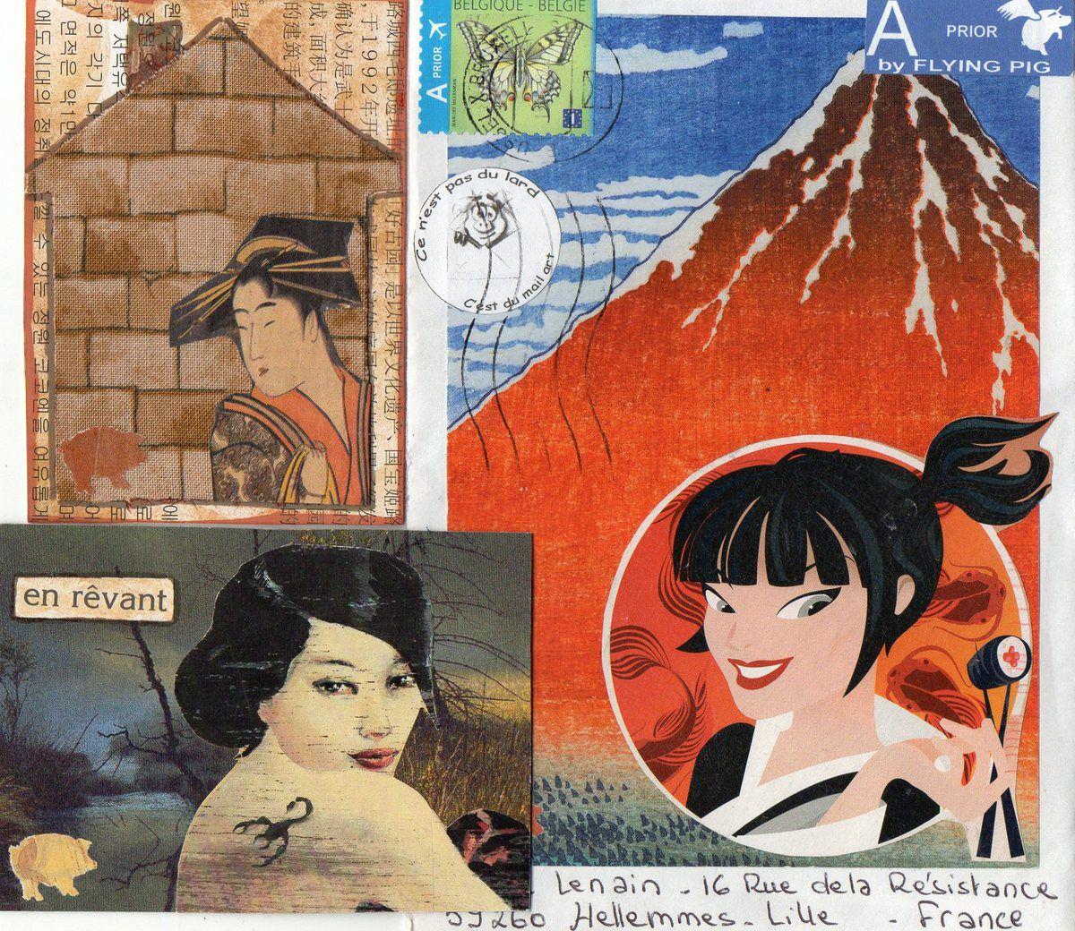 Merci Nicole,geisha et mont fuji font un bel ensemble et les 2 A.T.C sont réussis,bravo.Bisous de Nadine.