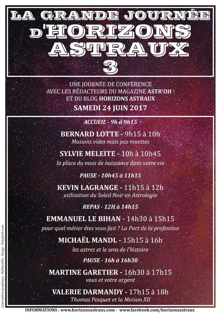 24/06/2017:  7 conférences d'astrologie et de numérologie à Paris + vidéo