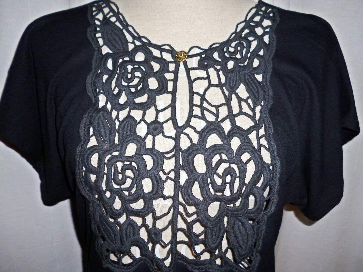 Robe création Ladie Jane T36/38 Style bohème,hippie chic, gitane...Noir, dentelle, fleurs...Rétro, vintage...Babydoll...