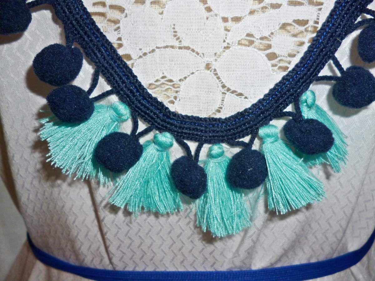 Robe création Ladie Jane T38/40 Style bohème, ethnique, hippie chic...Pompons, dentelle, fleurs...Babydoll...