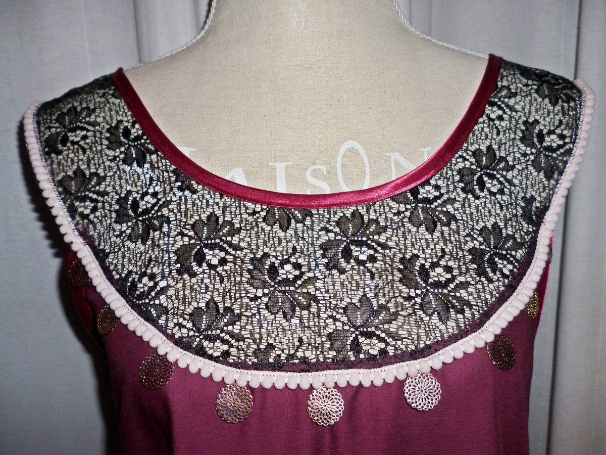 Robe création Ladie Jane T38/40 Style bohème,hippie,chic...Froufrou,dentelle,pompons rose pastel...Ethnique...Romantique...