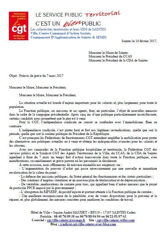 PREAVIS DE GREVE JOURNEE D'ACTION NATIONALE FONCTION PUBLIQUE DU 7 MARS 2017