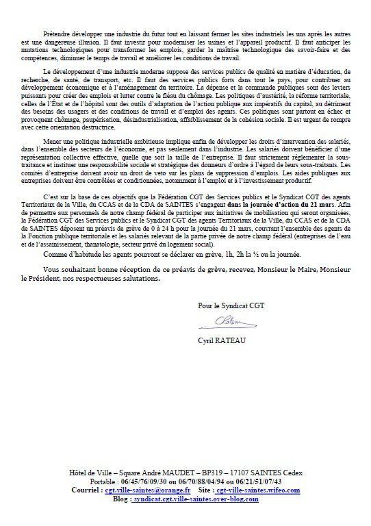 PREAVIS DE GREVE - JOURNEE D'ACTION NATIONALE DU 21 MARS 2017