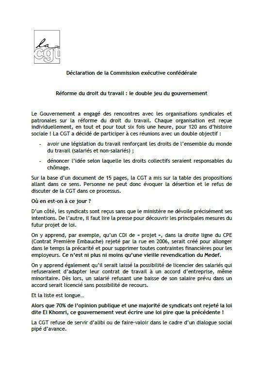 DECLARATION DE LA COMMISSION EXECUTIVE CONFEDERALE