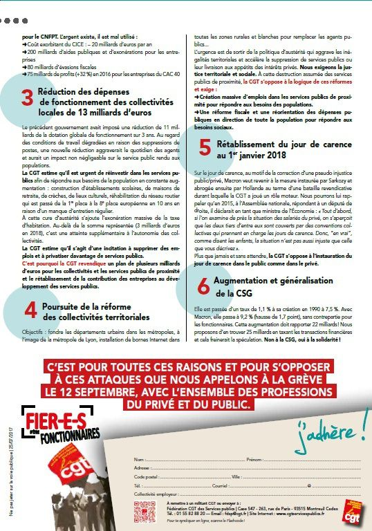 JOURNEE D'ACTION NATIONALE  INTERPROFESSIONNELLE  DU 12 SEPTEMBRE 2017