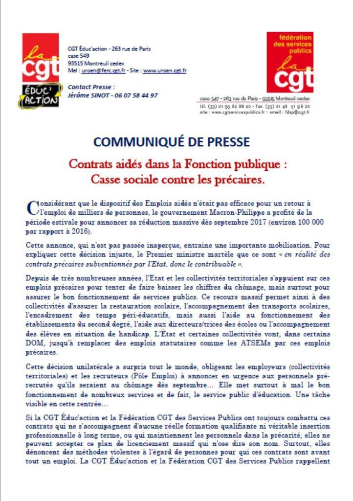 CONTRATS AIDES DANS LA FONCTION PUBLIQUE :  CASSE SOCIALE CONTRE LES PRECAIRES.