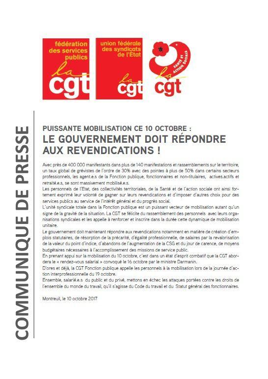 COMMUNIQUE DE PRESSE  DE LA FONCTION PUBLIQUE CGT  SUITE A LA JOURNEE D'ACTION NATIONALE  DU 10 OCTOBRE 2017