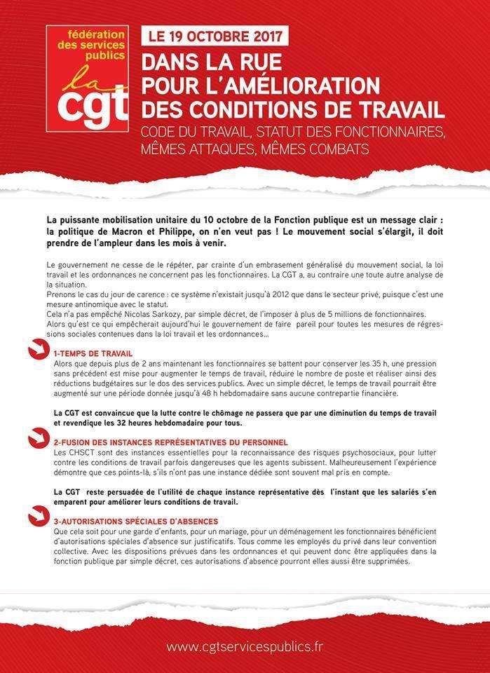 TRACT DE LA FEDERATION CGT DES SERVICES PUBLICS JOURNEE D'ACTION INTERPROFESSIONNELLE DU JEUDI 19 OCTOBRE 2017