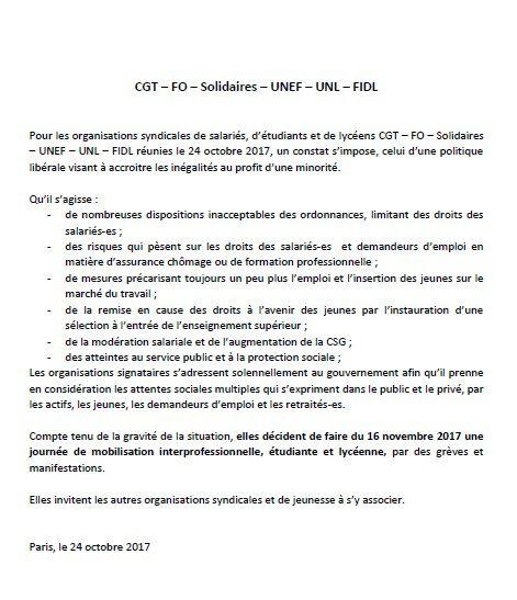 JOURNEE D'ACTION DU 16 NOVEMBRE 2017 - COMMUNIQUE DE PRESSE DE L'INTERSYNDICALE
