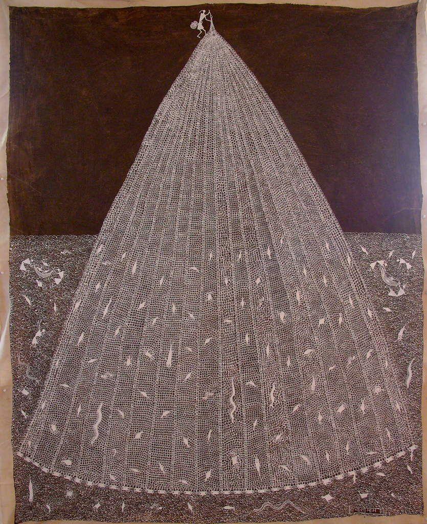 """""""filet de pêche"""" par Jivya Soma Mashé, de 2005 - acrylique sur matière organique - 170 X 133 cm."""