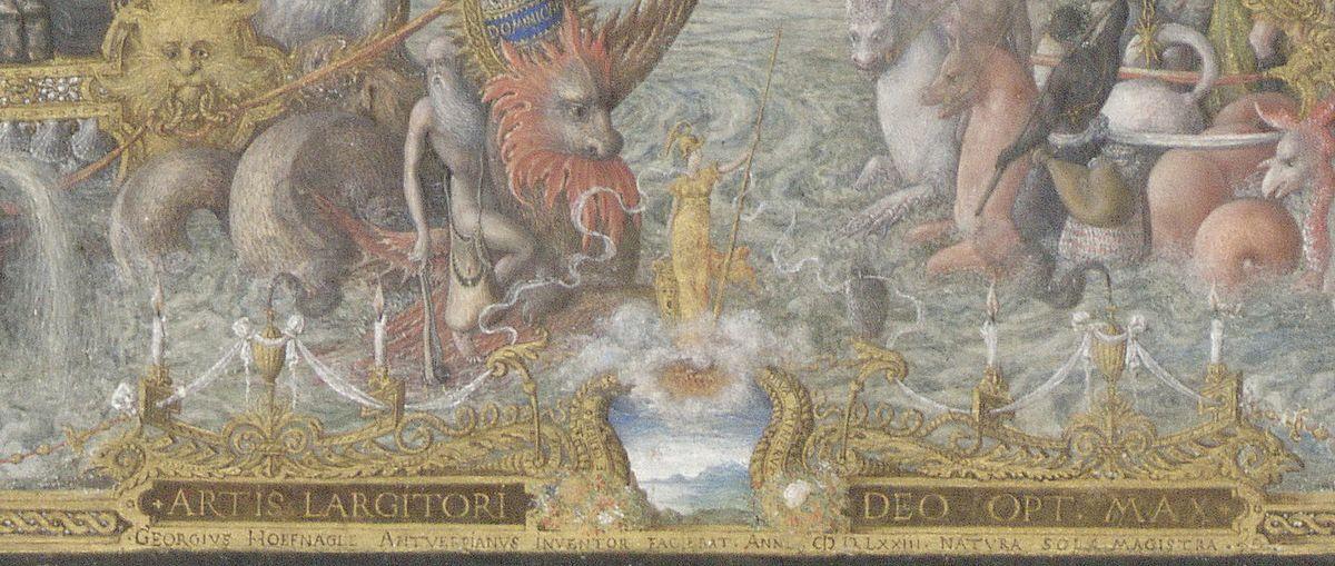 """Minerve et sa """"chouette"""" : Joris Hoefnagel, """"Vue de Séville"""", 1573, Bibliothèque Royale Albert Ier, Cabinet des Estampes,  Bruxelles &#x3B; voir source des images supra."""