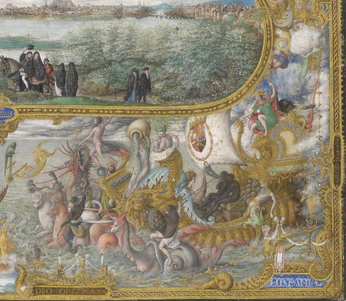 Hoefnagel, Vue de Séville, 1573, quart inférieur droit, Bibliothèque Royale de Bruxelles.