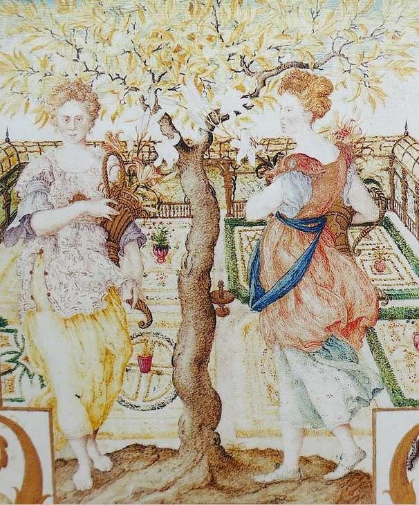 Joris Hoefnagel, Les deux nymphes dans le jardin.