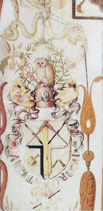Joris Hoefnagel, Hibou au Caducée, in Allégorie aux deux Nymphes avec les vues de Munich et de Landshut (1579) , in Vignau-Wilberg 2006.