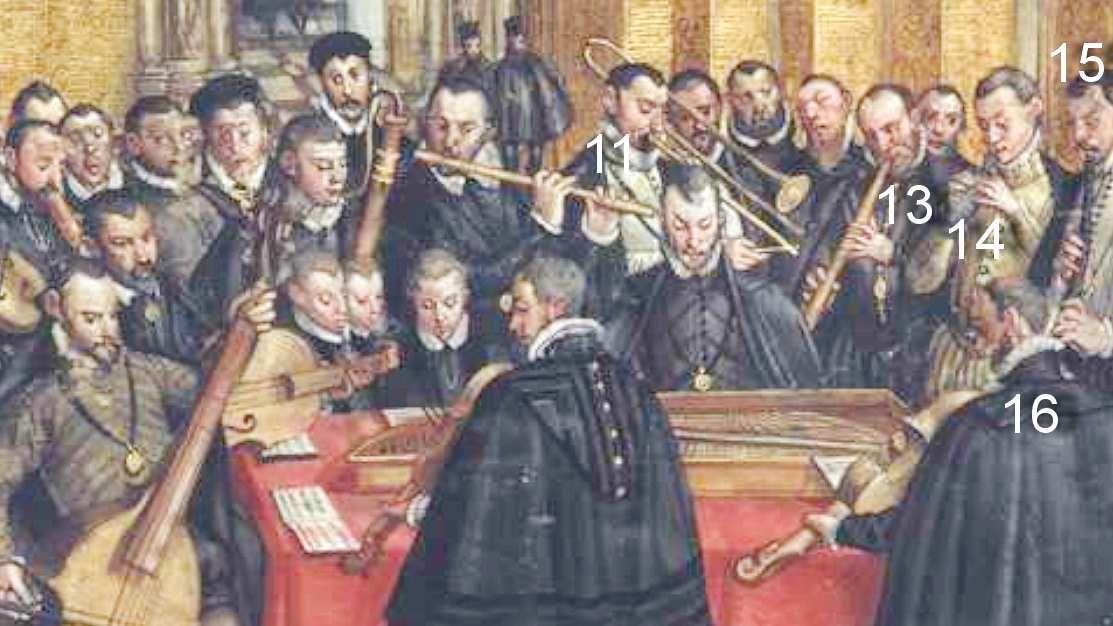 Hans Mielich, la Hofkapelle de Munich, Mus. Ms. AII page 187 . droits réservés MDZ, BSB.