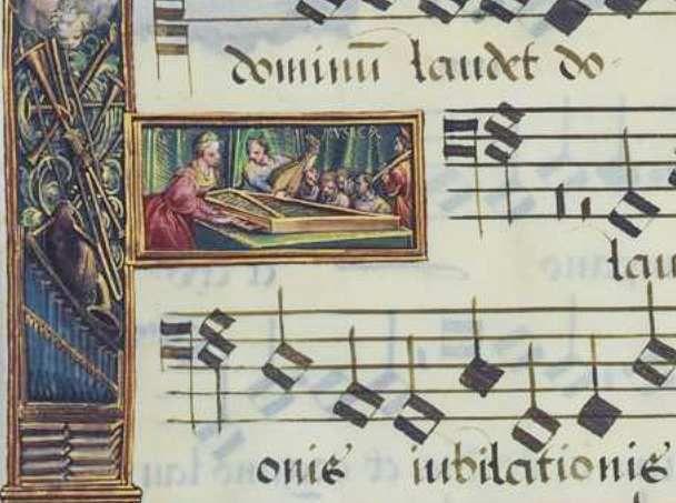 Hans Mielich, Psaumes pénitentiels, Mus. Ms. AII page 183  : le virginal. droits réservés MDZ, BSB.