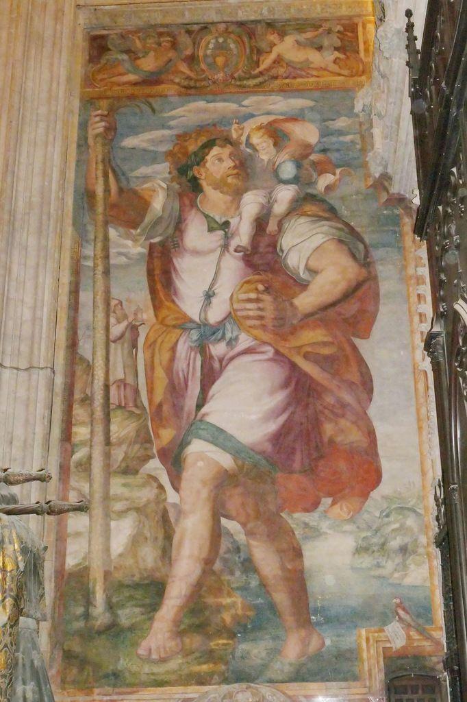 Saint Christophe portant l'Enfant-Jésus, Mateo Pérez de Alesio, 1584, Cathédrale de Séville. Photo lavieb-aile.