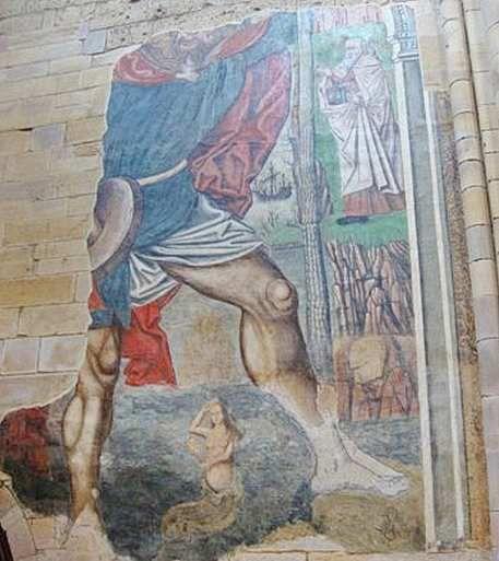 San Cristóbal (détail),  Santa María del Azogue de Benavente (Zamora).  Première moitié du XVIe siècle.