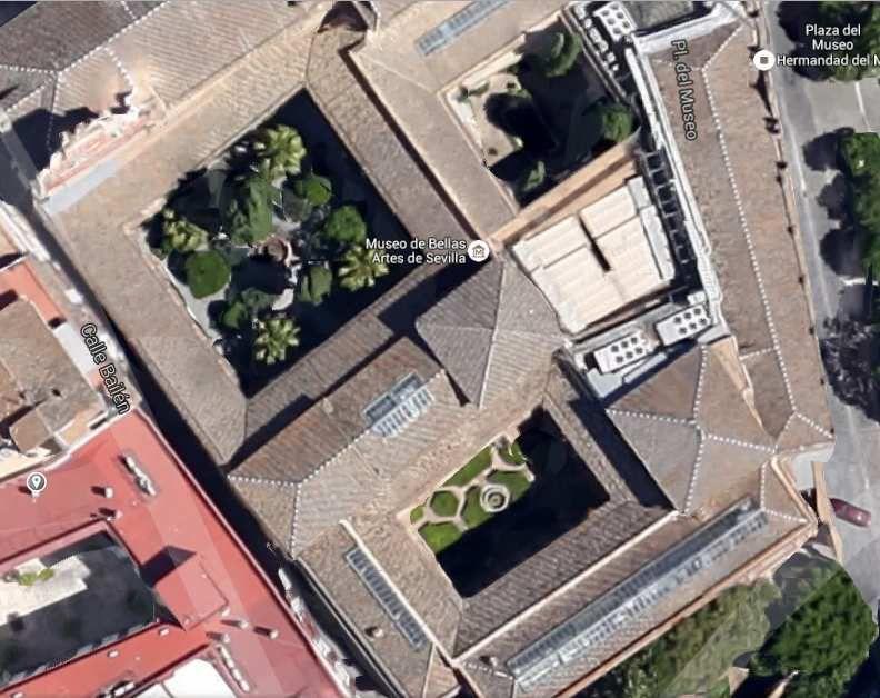 Les cloîtres du Musée des Beaux-Arts de Séville, image Maps Google.