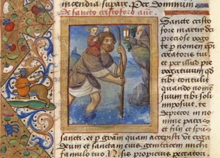 Saint Christophe portant l'Enfant-Jésus, Livre d'Heures de Louis de Roncherolles  (1495-1500) Arsenal Ms 1191 folio 83v  Maître des entrées parisiennes