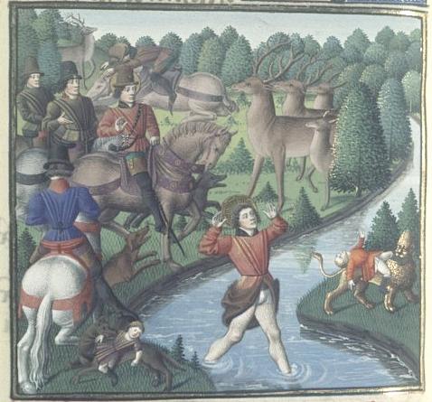 S. Eustache perdant ses enfants  , Bnf Français 50 folio 371v, Vincent de Beauvais traduit par Jean de Vignay, 1463