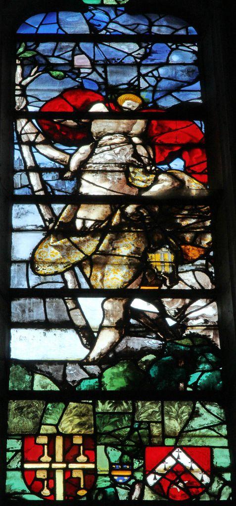 """Saint Christophe, Vitrail de Roncherolles, 1522, chapelle """"du Sacré-Cœur"""", cathédrale de Beauvais, photo lavieb-aile.522,"""