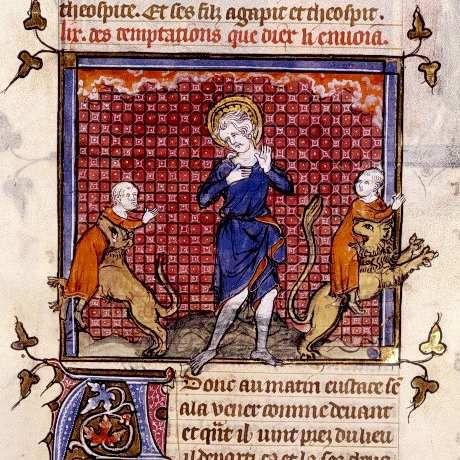 S. Eustache perdant ses enfants , Arsenal 5080    fol. 125,  Miroir historial par Vincent de Beauvais   trad. Vignay  vers 1335