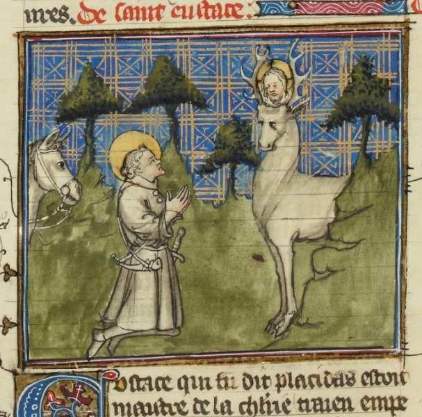 Vision de saint Eustache, Bnf français 242 folio 243r, Gallica.