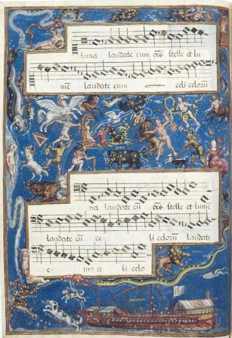 Hans Mielich, 1570, enluminure de la partition du Motet Laudate Dominum de Roland de Lassus, Mus. Ms. AII folio 157, document Bibliothèque Nationale de Bavière.