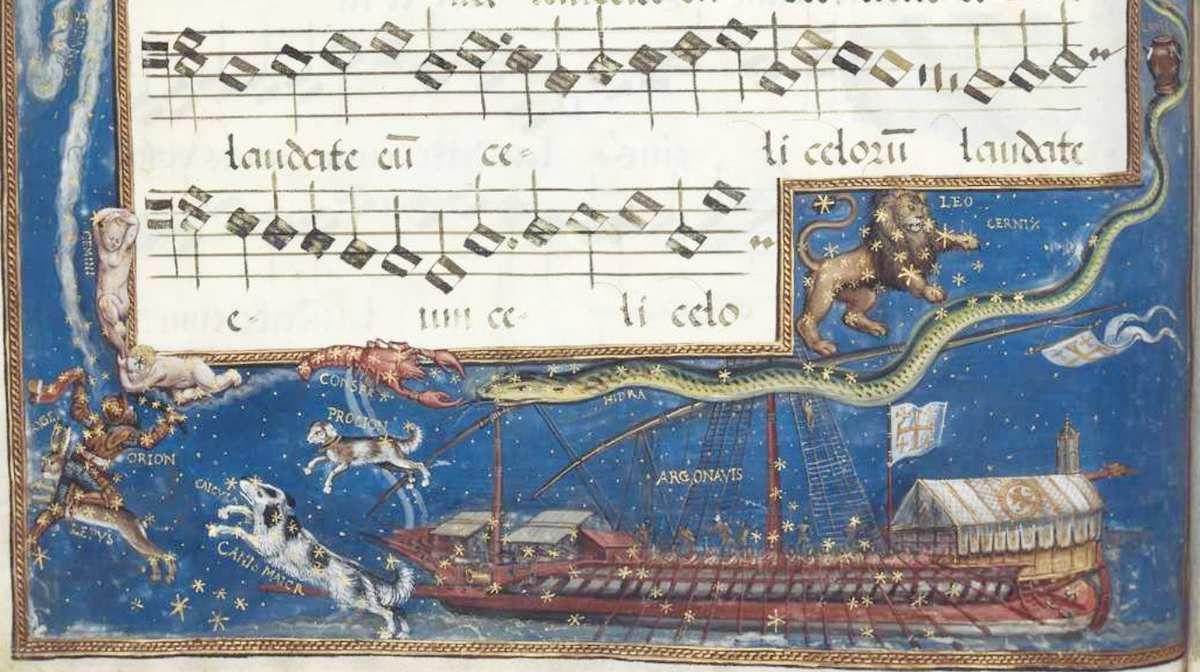 Hans Mielich, 1570, enluminure de la partition du Motet Laudate Dominum de Roland de Lassus, Mus. Ms. AII folio 157 (partie supérieure), document Bibliothèque Nationale de Bavière.