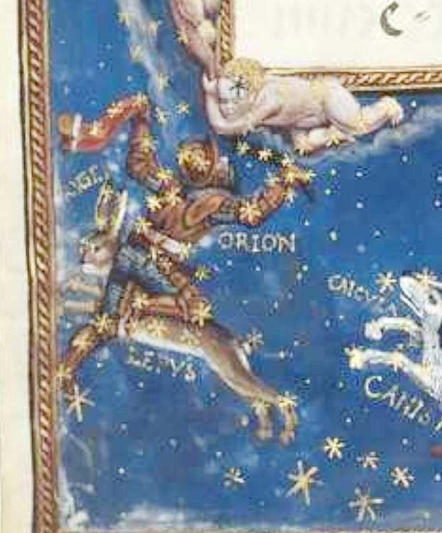 Orion, Hans Mielich, 1570, enluminure de la partition du Motet Laudate Dominum de Roland de Lassus, Mus. Ms. AII folio 157, document Bibliothèque Nationale de Bavière.