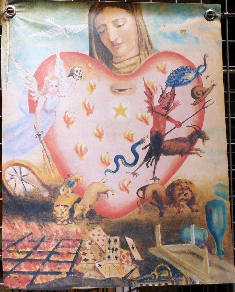 """Tableaux présentés à l'exposition Tableaux de Mission"""" 2015 (Commissaire Françoise Oudin). 1. L'état de péché. 2. L'attrition."""
