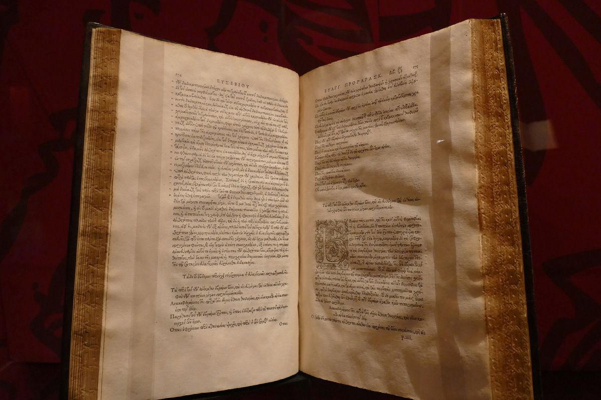 Eusèbe de Césarée, Evangelicae praeparationis libri XV, ex Bibliotheca Regia, Paris Robert Estienne, 1544, photographie lavieb-aile lors de l'exposition à Chantilly octobre 2015.