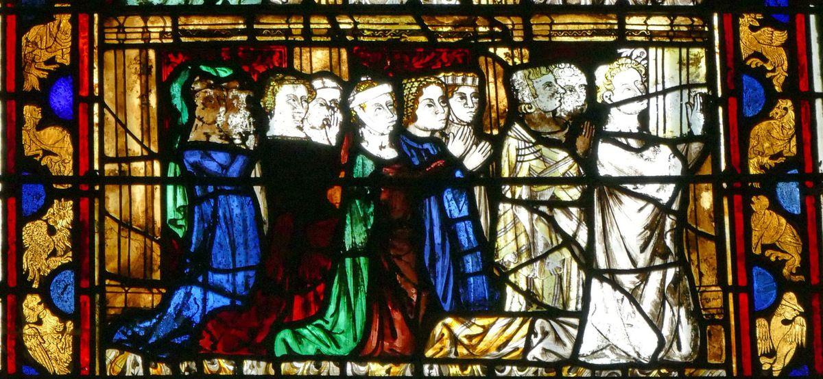 Donateurs,  Crucifixion,  Baie 12, cathédrale de Beauvais, photographie lavieb-aile.