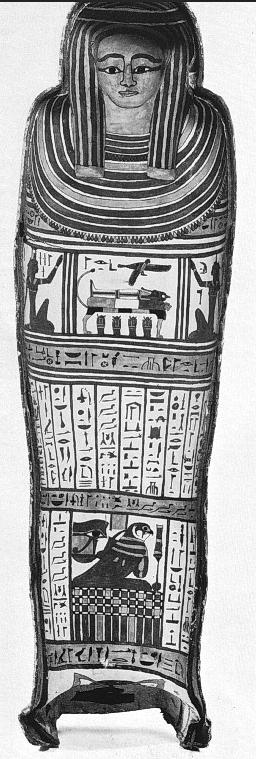 Intérieur du couvercle, cercueil anthropoïde d'Amon Nehemsimontou, Musée de Grenoble MG1995, in Kueny & Yoyotte