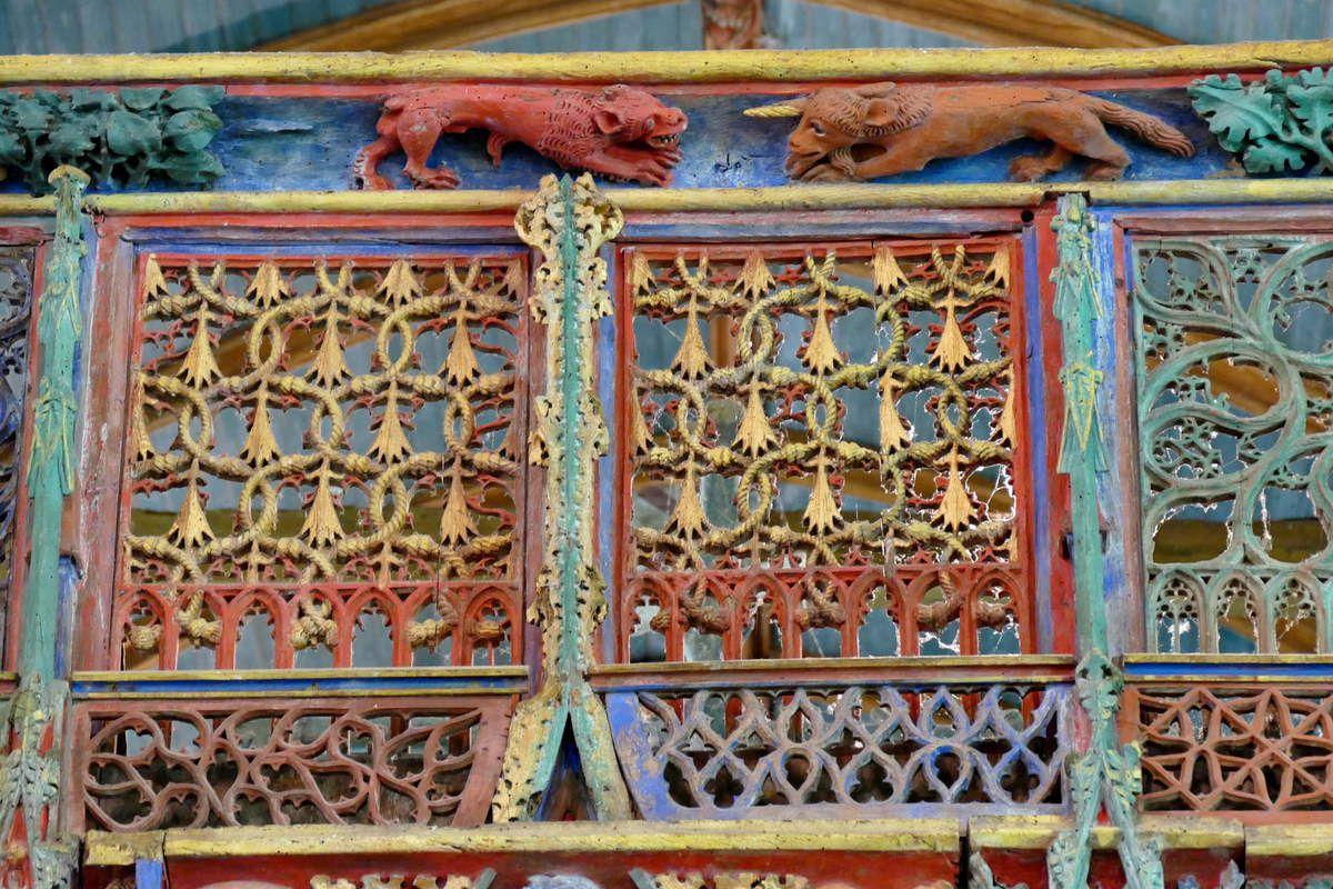 Panneaux du garde corps, tribune du Jubé de Saint-Fiacre, Le Faouët, photographie lavieb-aile.